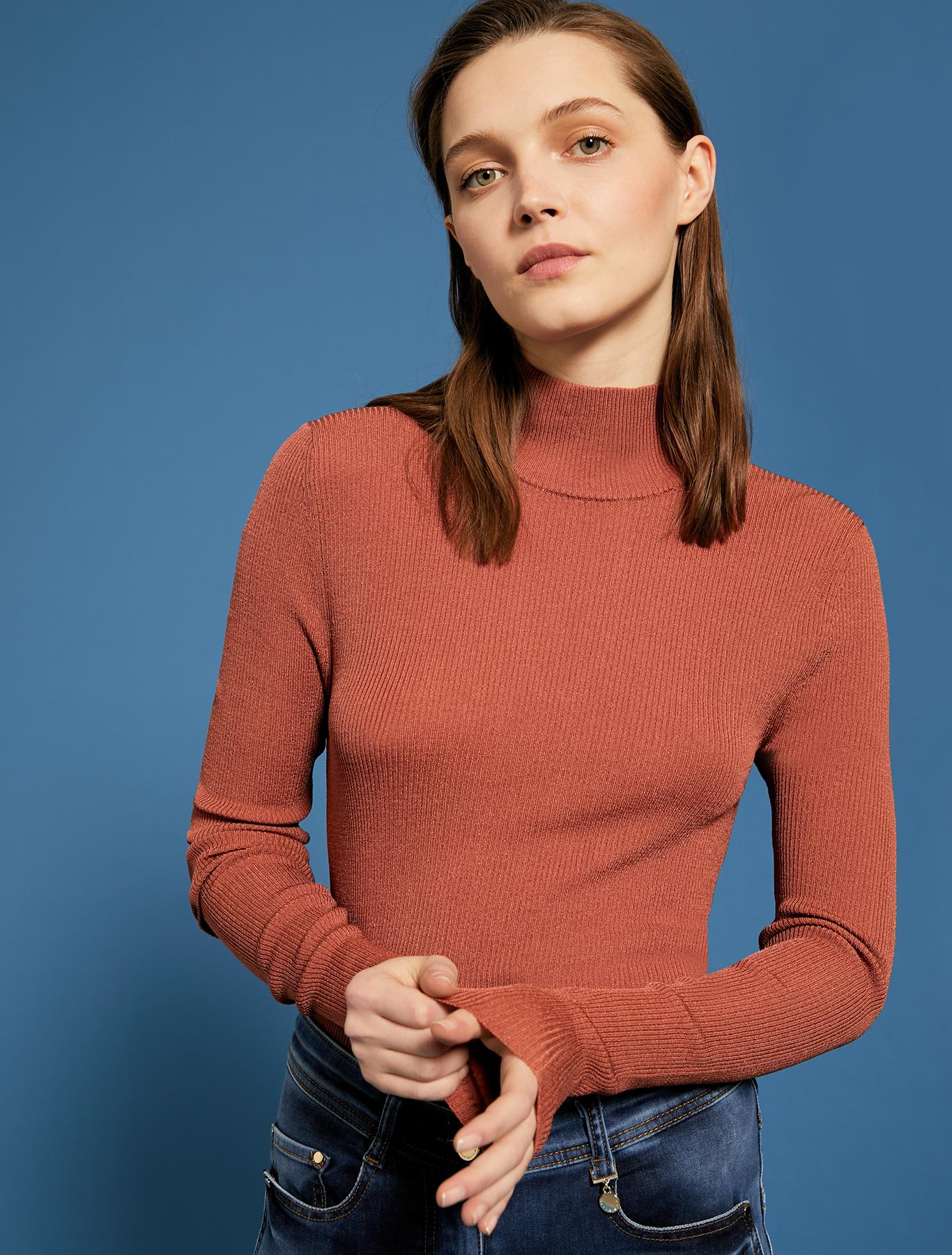 Ribbed knit turtleneck - brown - pennyblack