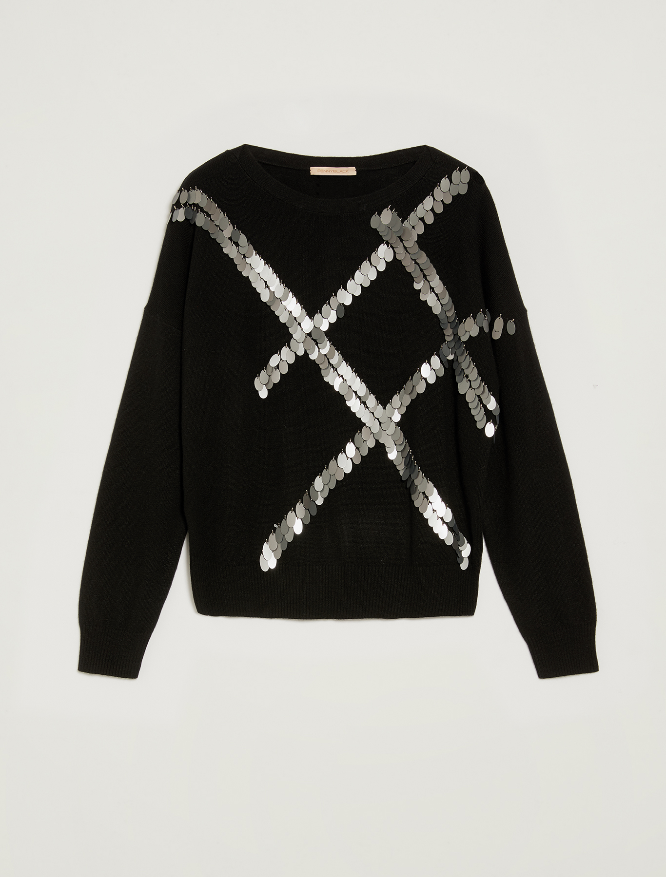 Jumper with sequin embroidery - black pattern - pennyblack
