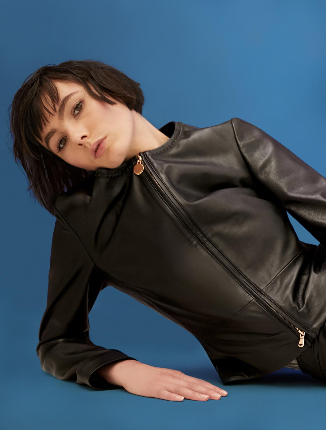 Slim suede jacket - black - pennyblack