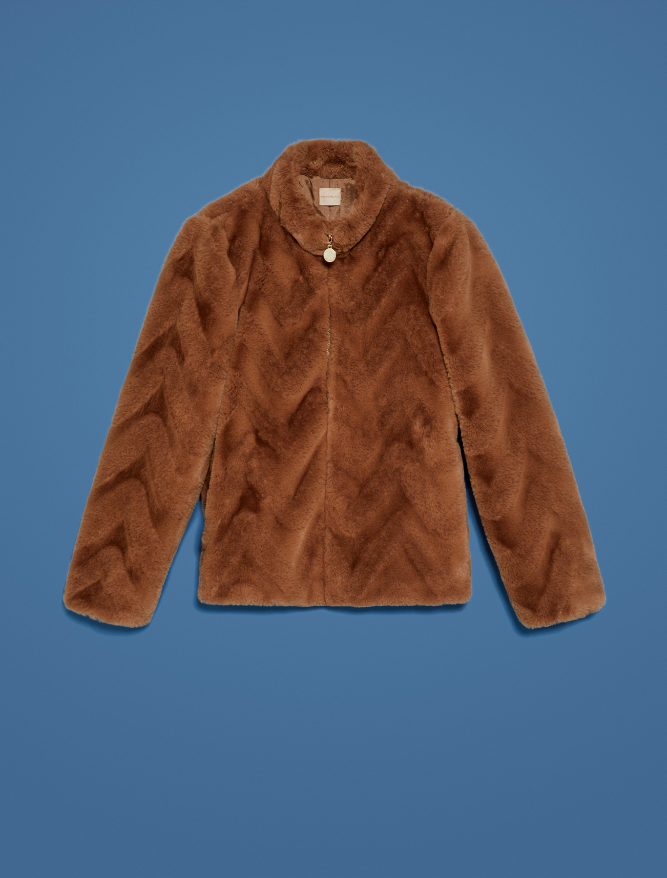 Giacca zip-up in peluche - cammello - pennyblack