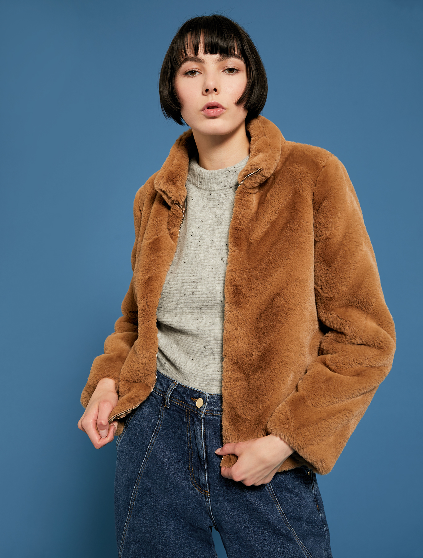 Zipped plush jacket - camel - pennyblack