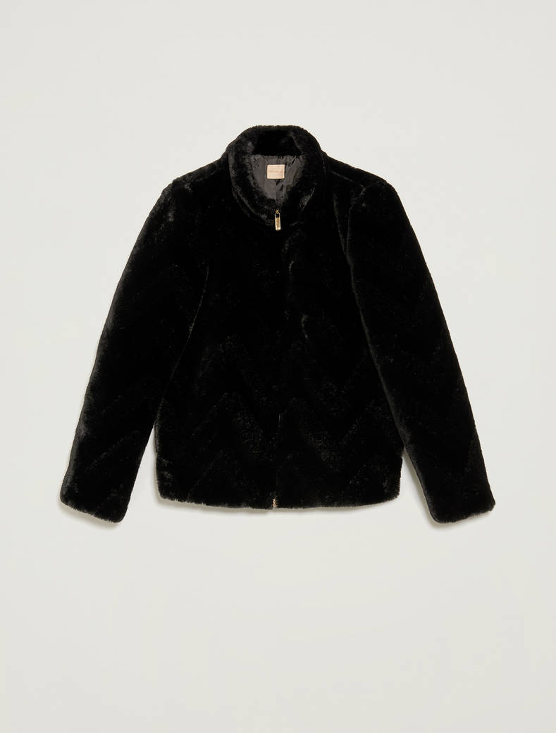 Zipped plush jacket - black - pennyblack