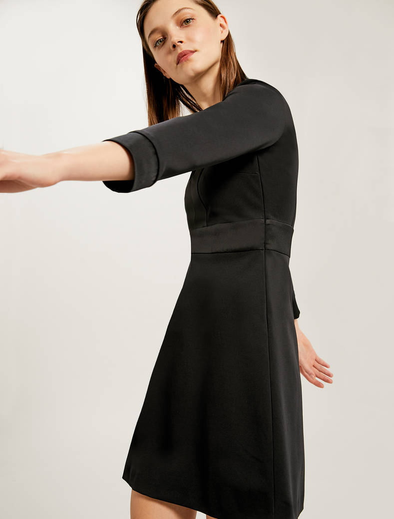 Jersey dress with satin inlays - black - pennyblack