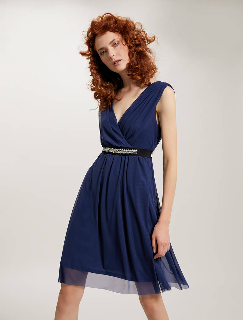 Draped tulle dress - midnight blue - pennyblack