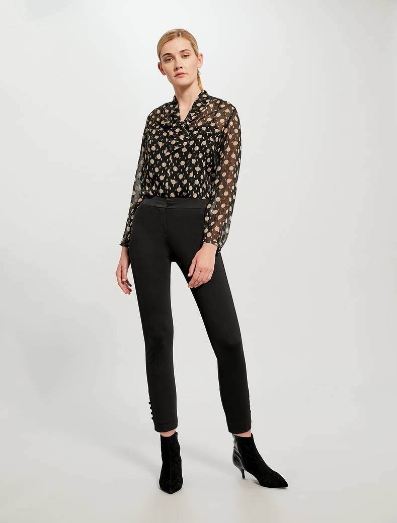 Skinny trousers with boule buttons - black - pennyblack