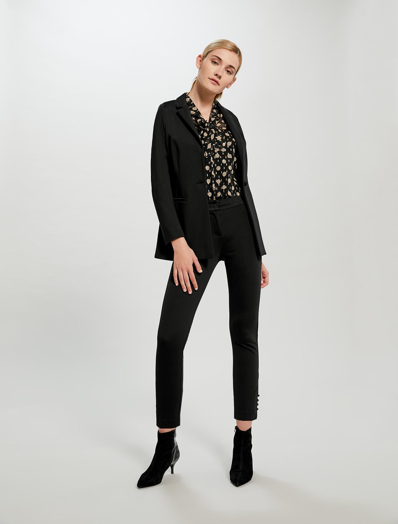 Slim-fit blazer in stretch jersey - black - pennyblack