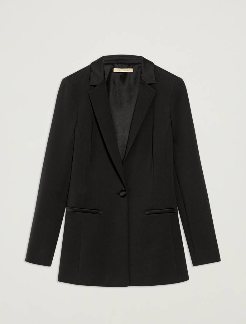 Slim-fit blazer in stretch jersey - black - pennyblack