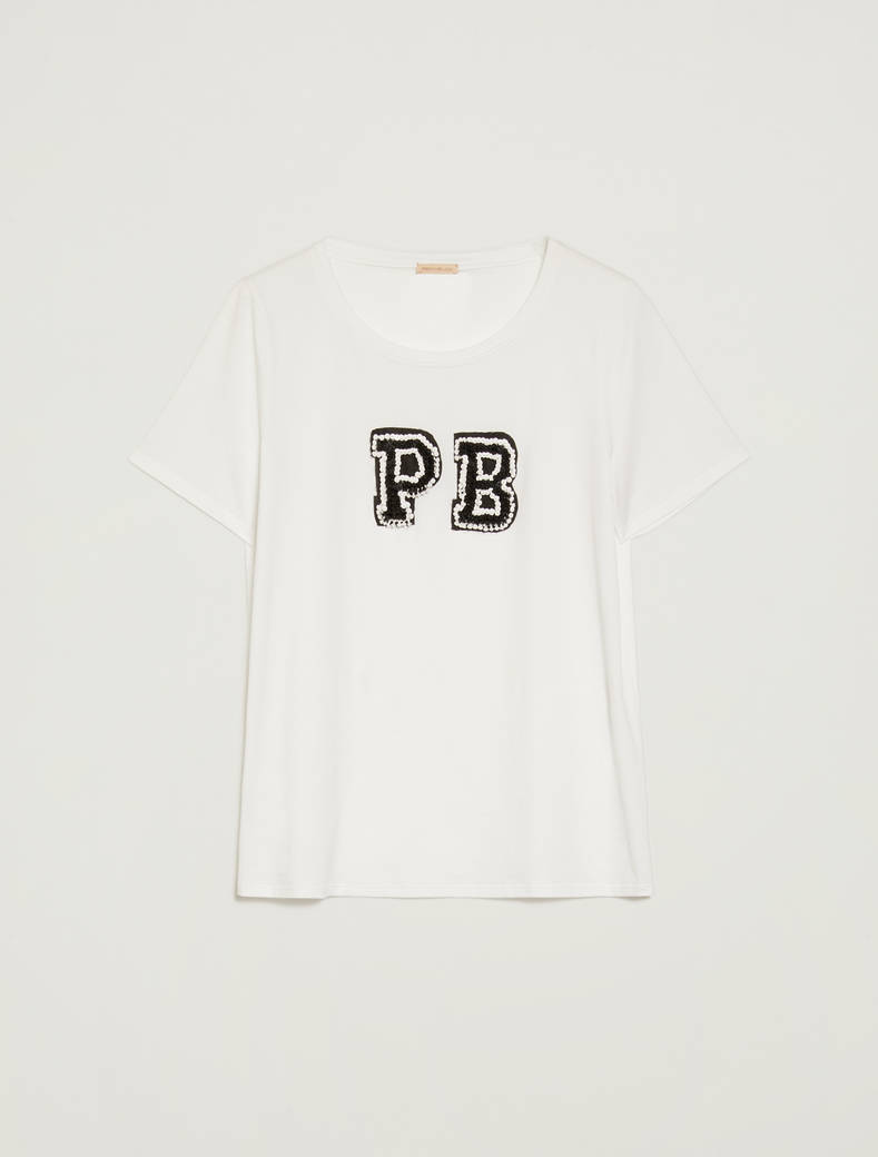 T-shirt with 3D gem lettering - white - pennyblack
