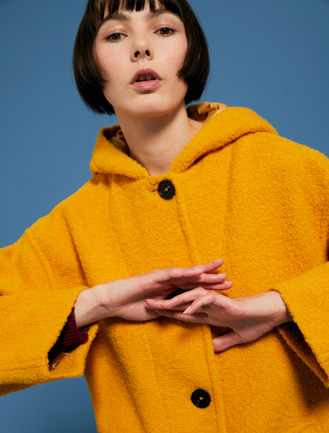 Hooded bouclé coat - sunshine yellow - pennyblack