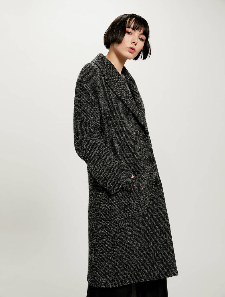 Bouclé coat - medium grey pattern - pennyblack