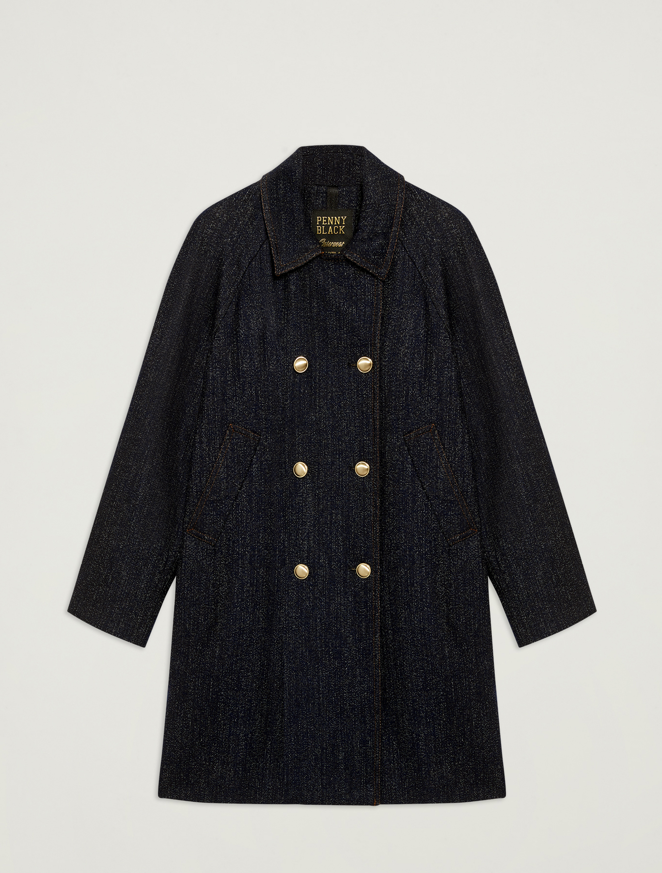Double-breasted coat with denim effect - navy blue pattern - pennyblack