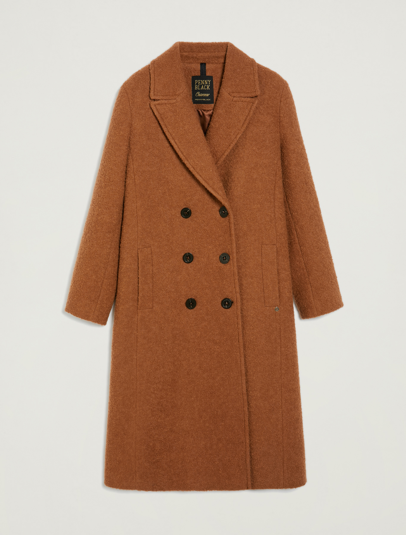 Double-breasted bouclé coat - brown - pennyblack