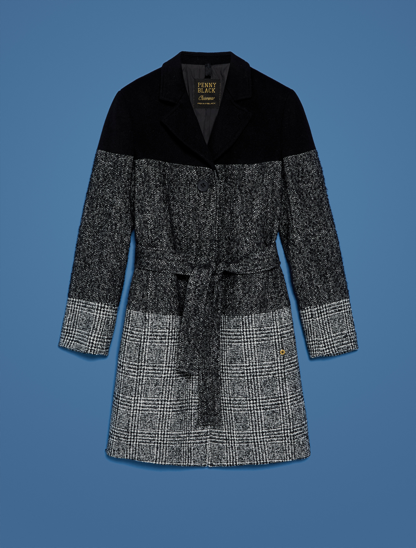 Coat in tweed and Prince of Wales blend - black - pennyblack