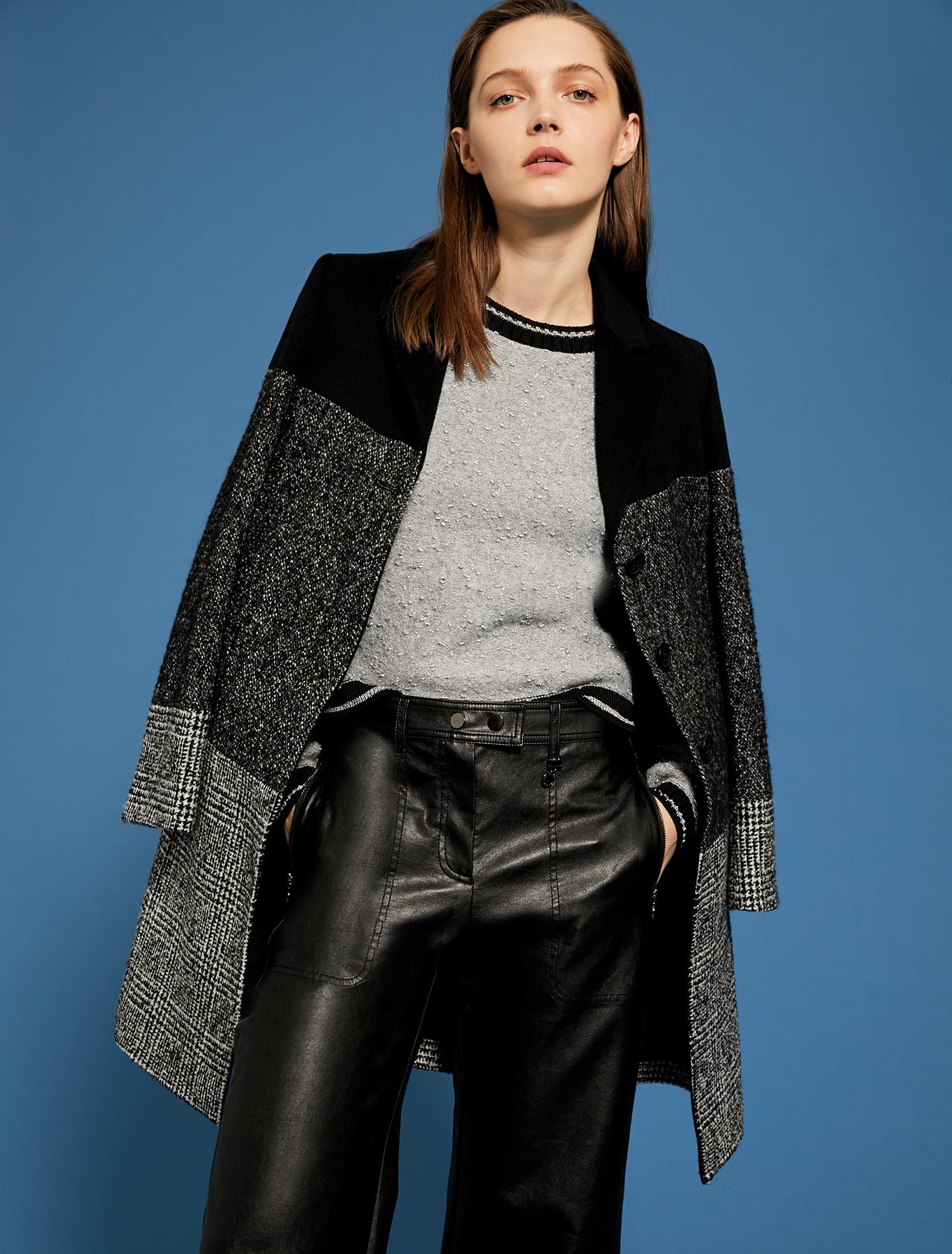 Coat in tweed and Prince of Wales blend - black - pennyblack