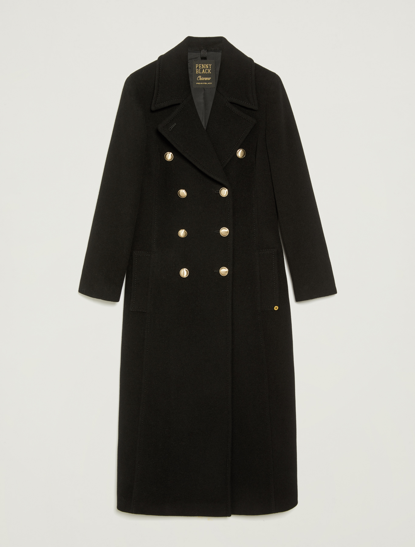 Double-breasted pure wool coat - black - pennyblack