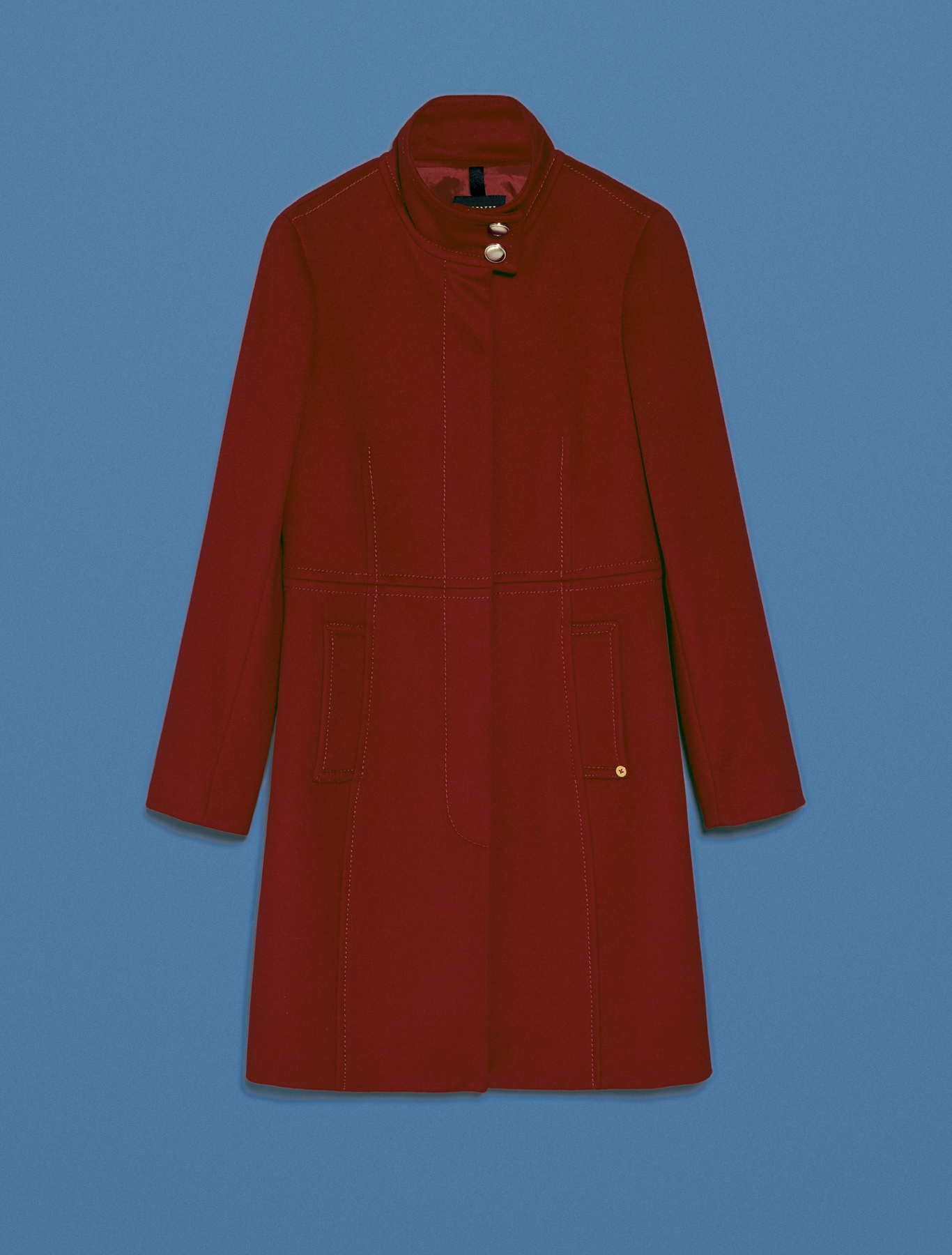 Pure wool slim-fit coat - burgundy - pennyblack