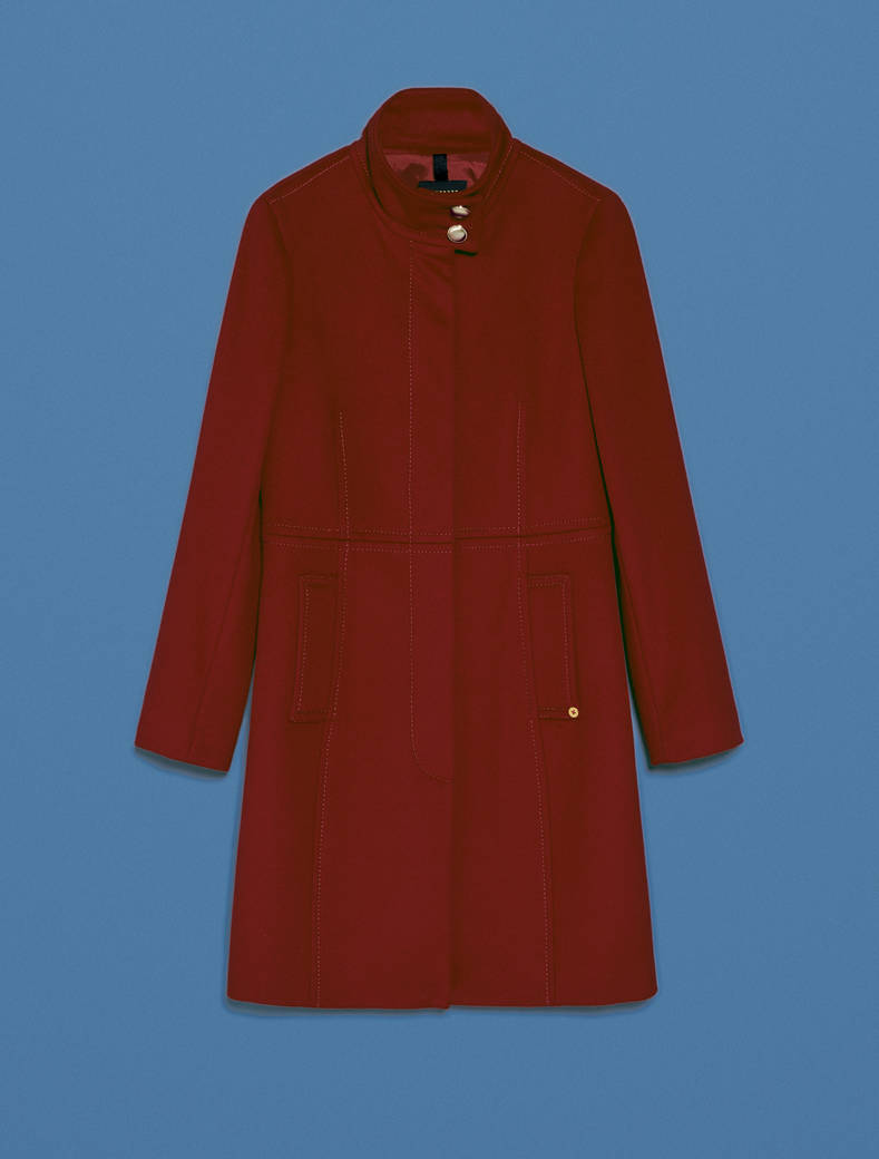 Cappotto slim in pura lana - bordeaux - pennyblack