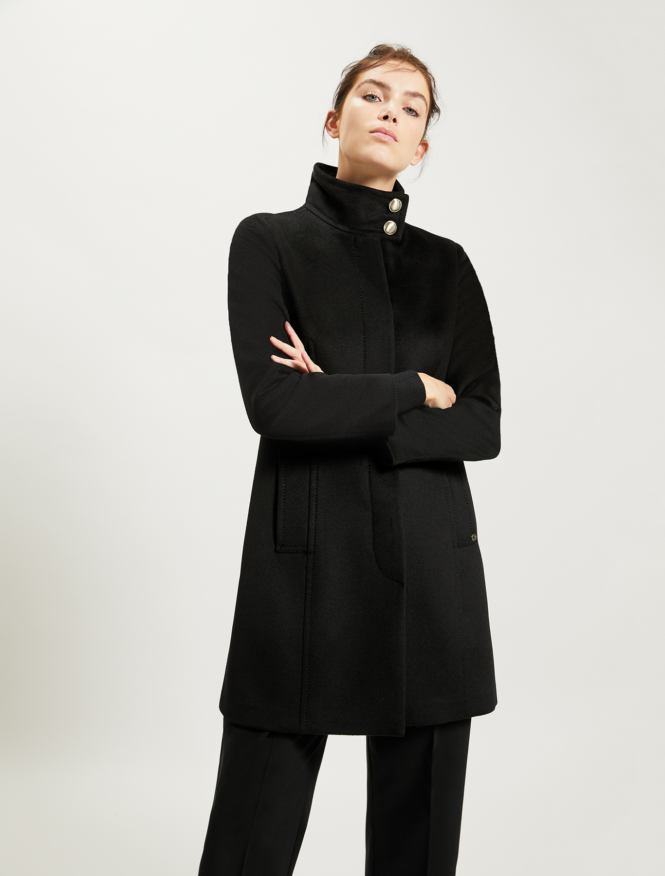 Pure wool slim-fit coat - black - pennyblack