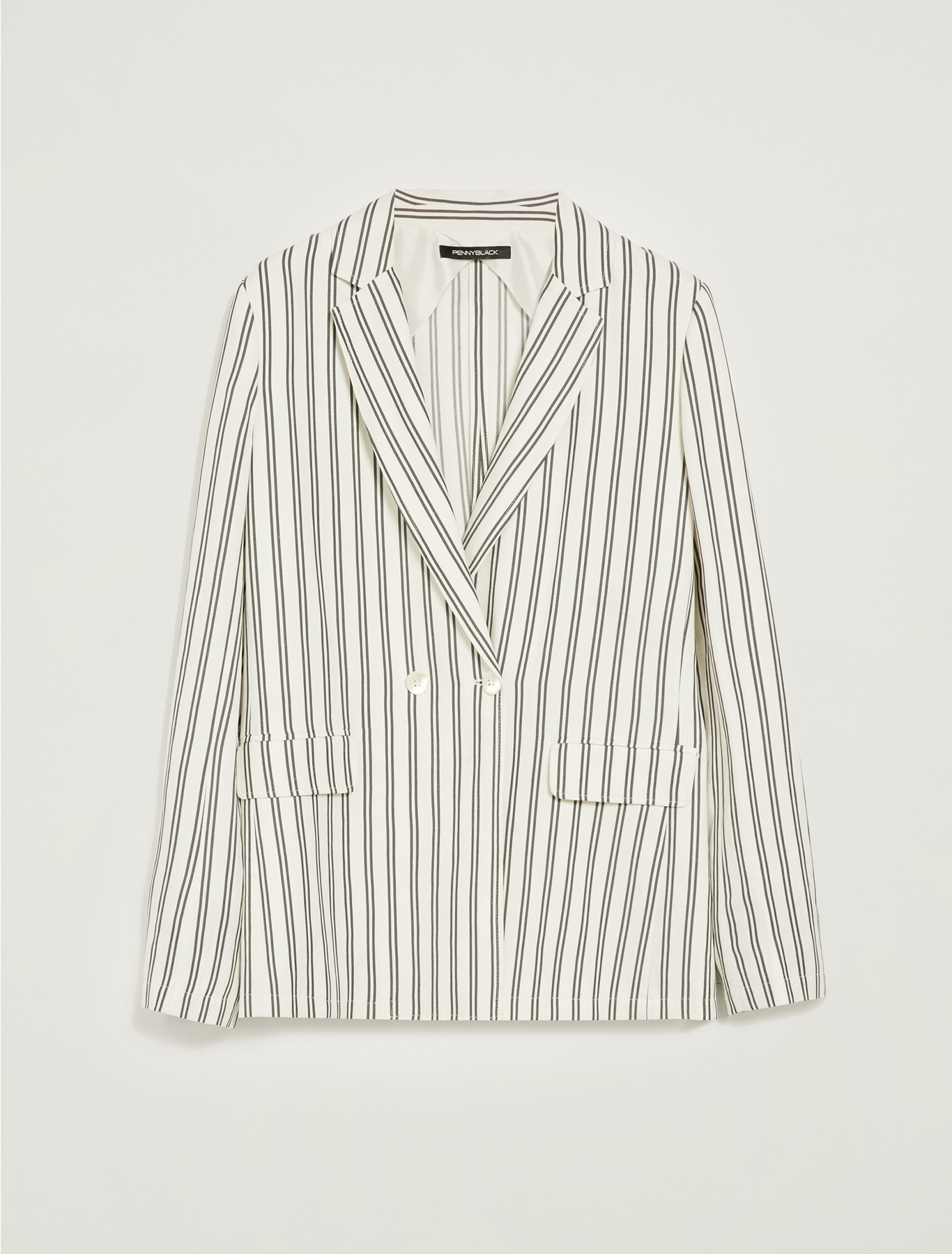 Relaxed-fit striped blazer - white pattern - pennyblack