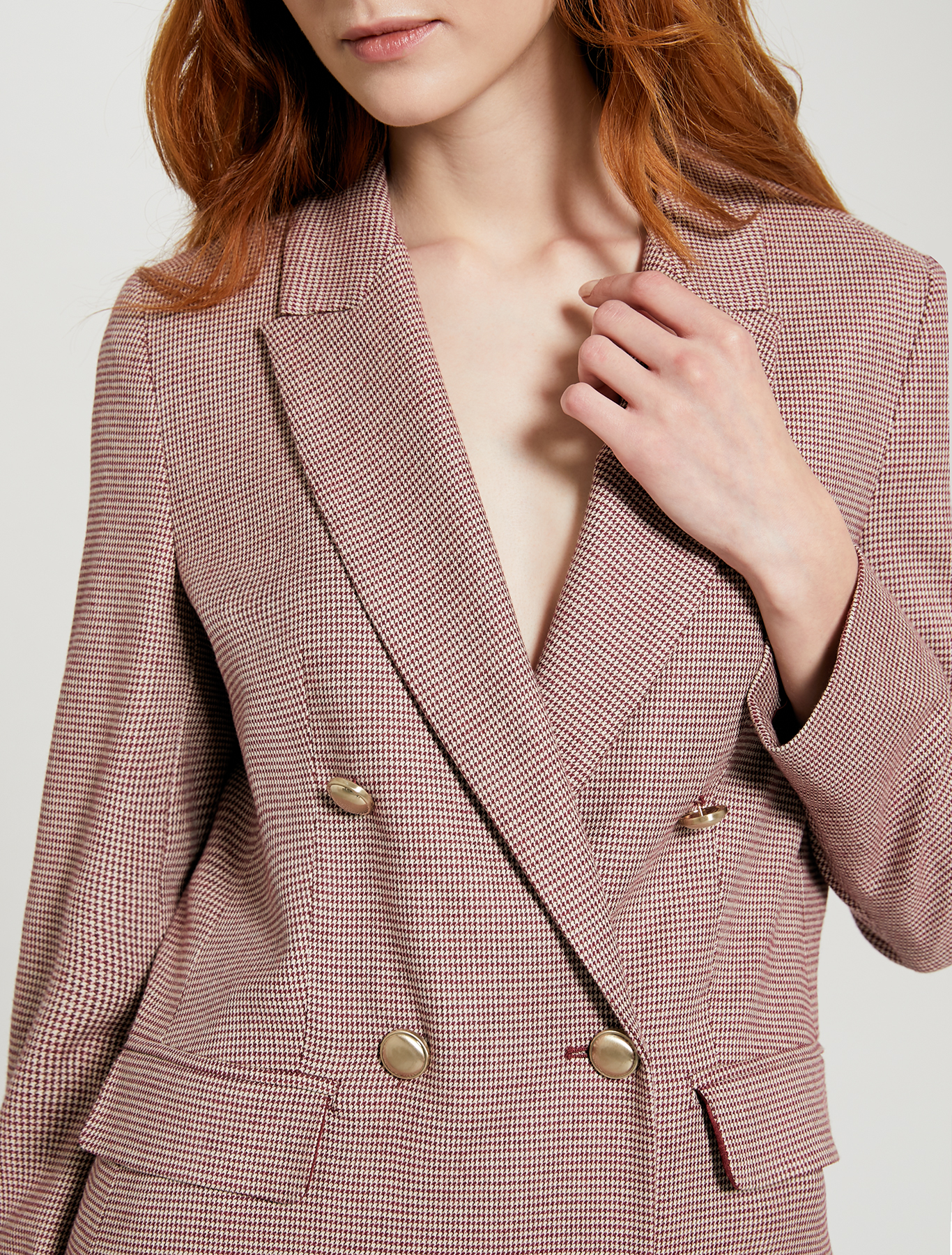 Double-breasted houndstooth blazer - red pattern - pennyblack