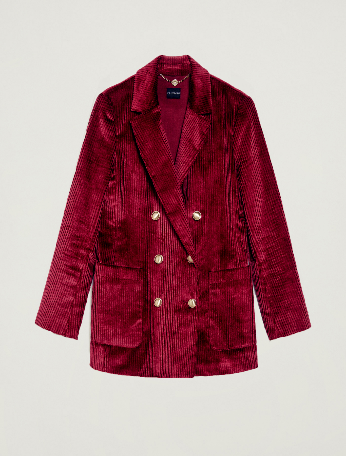 Double-breasted blazer in velvet - burgundy - pennyblack