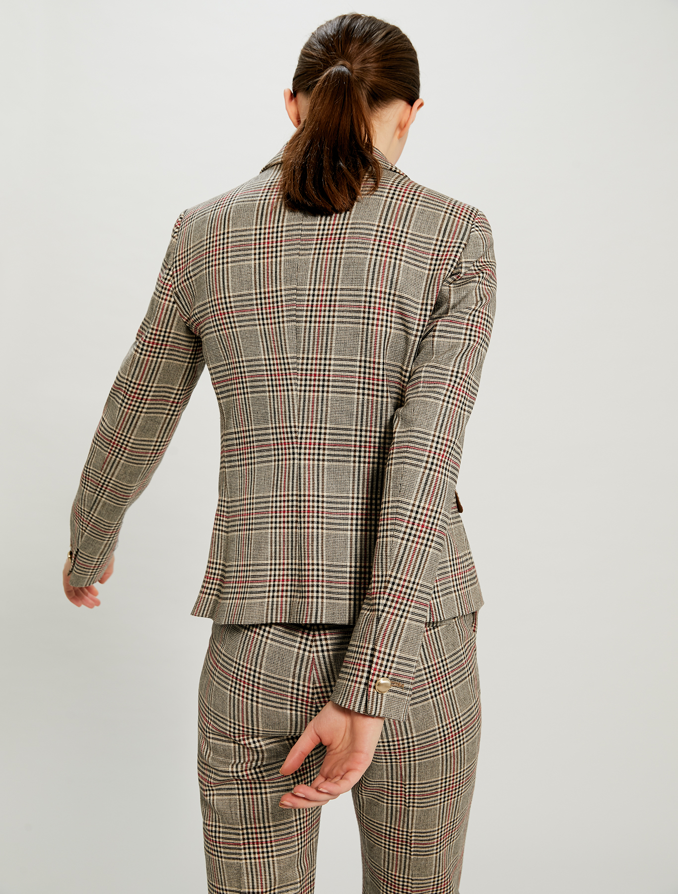Slim fit Prince of Wales checked blazer - brown pattern - pennyblack