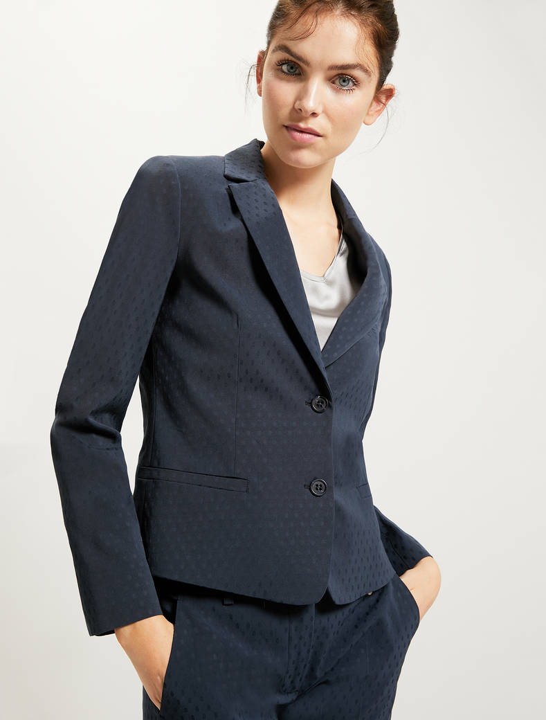 Blazer with polka-dot texture - navy blue - pennyblack