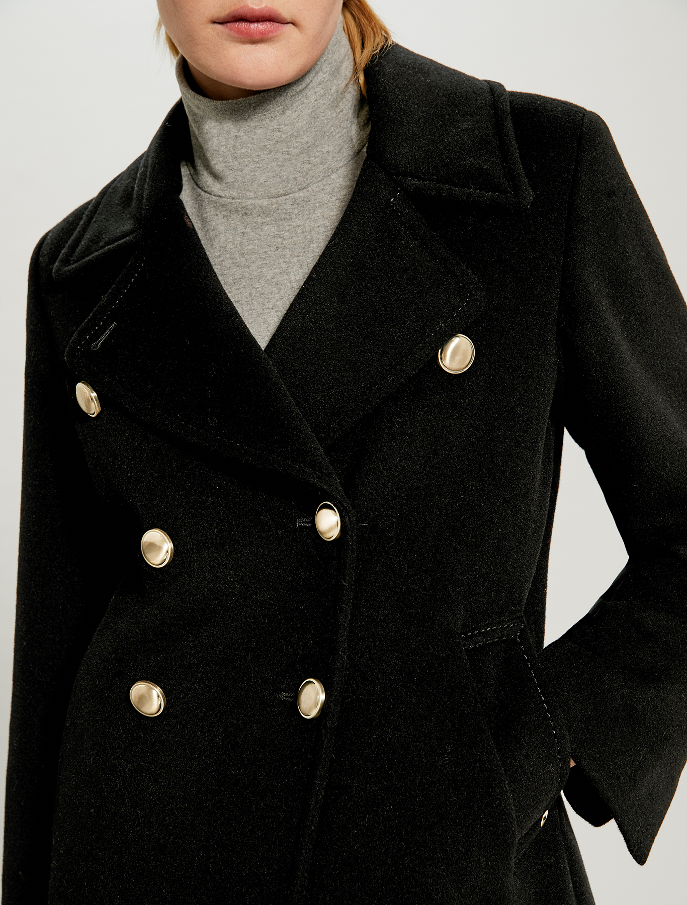 Pure wool pea coat - black - pennyblack