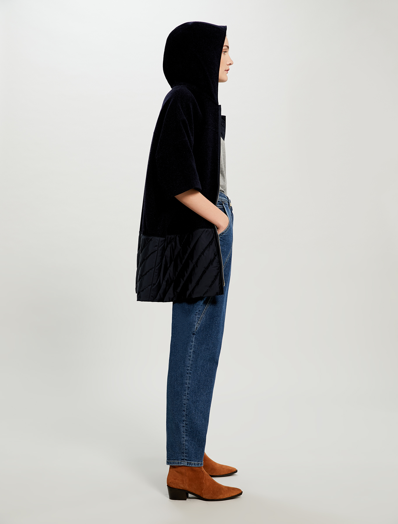 Cape in cloth and technical fabric - midnight blue - pennyblack