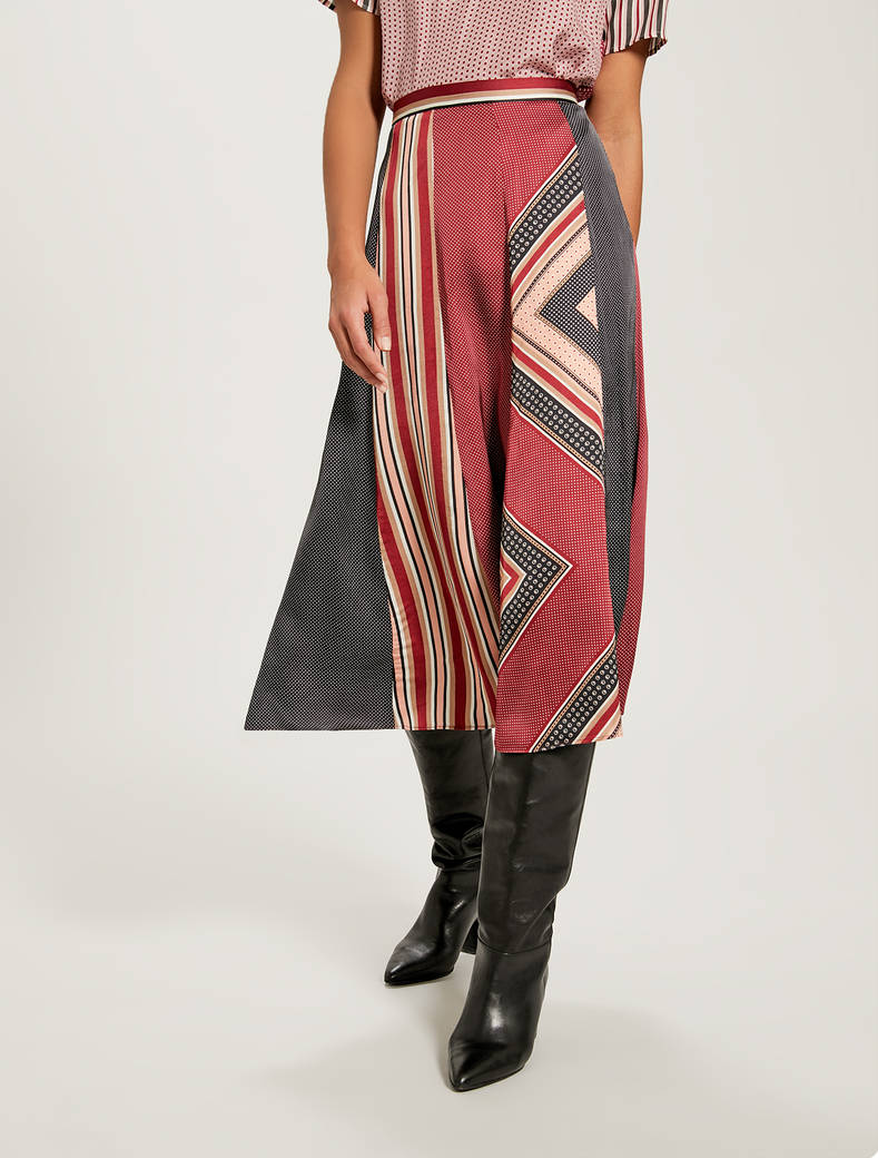 Satin patchwork skirt - burgundy pattern - pennyblack