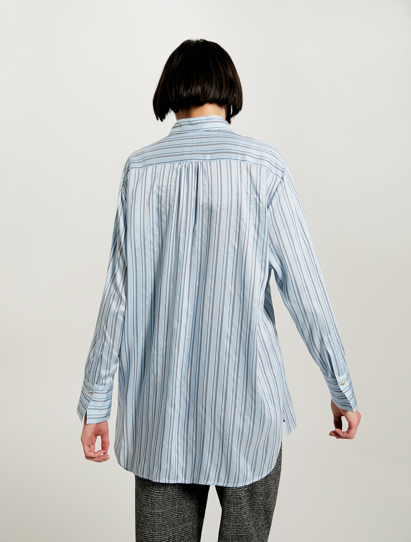 Shirt with regimental stripes - light blue pattern - pennyblack
