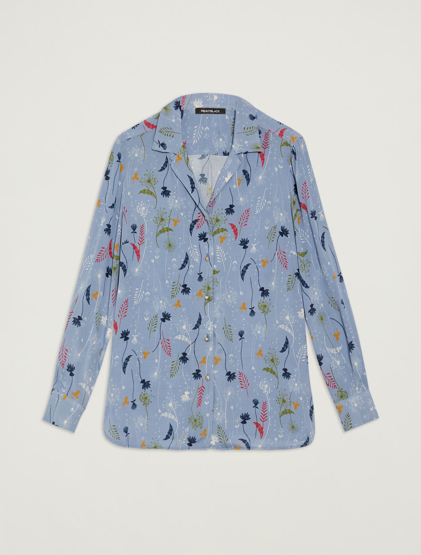 Shirt with botanical print - light blue pattern - pennyblack