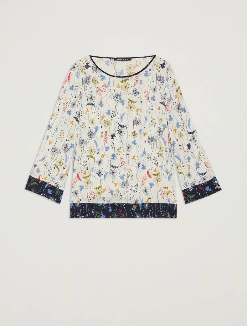 Blouse with botanical print - ivory pattern - pennyblack