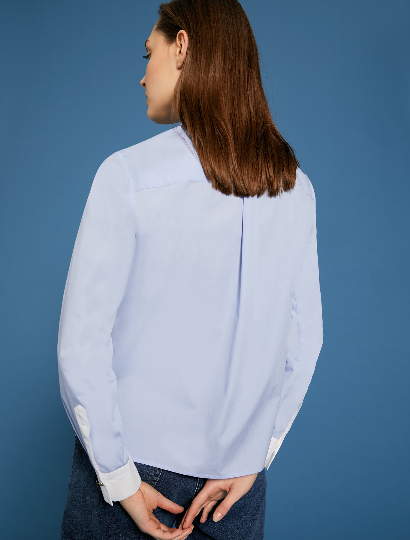 Shirt with dandelion embroidery - light blue - pennyblack