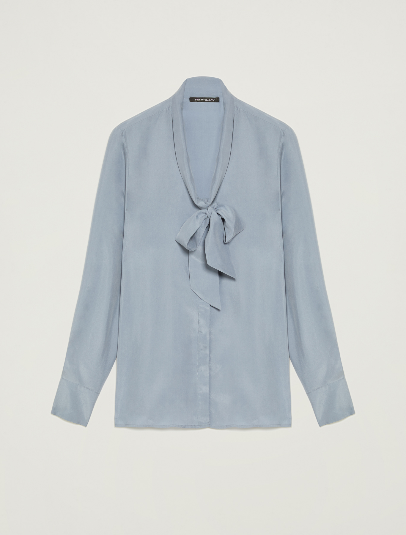 Pure silk shirt with bow - light blue - pennyblack