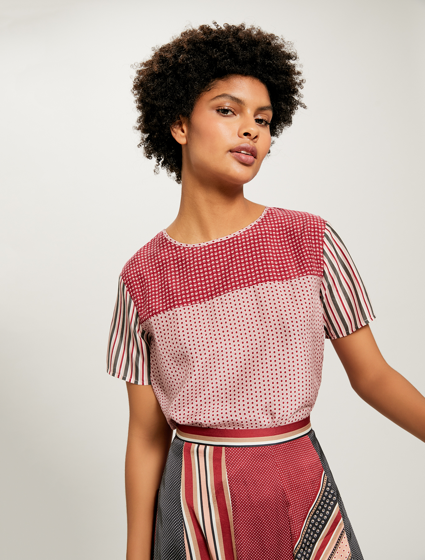 Patchwork blouse in pure silk - burgundy pattern - pennyblack