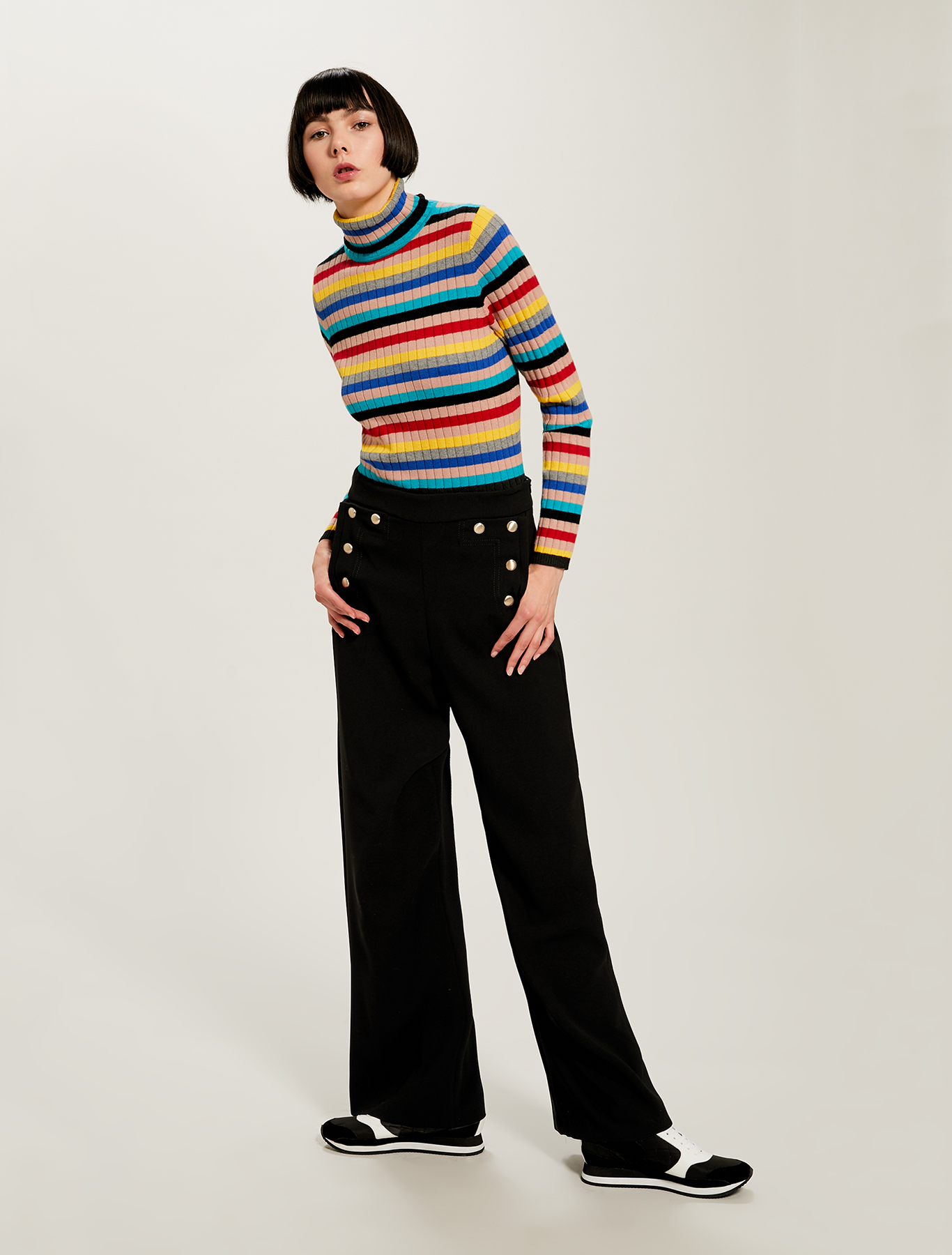 Trousers with sailor buttons - black - pennyblack