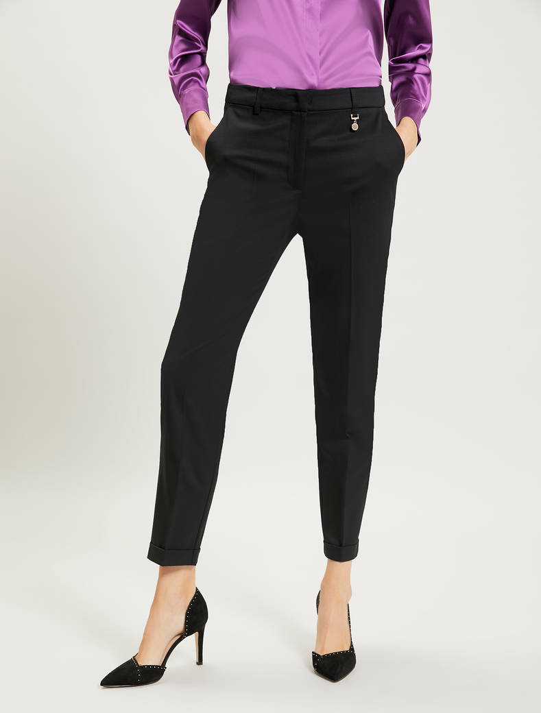 Slim-fit, Cool Wool trousers - black - pennyblack