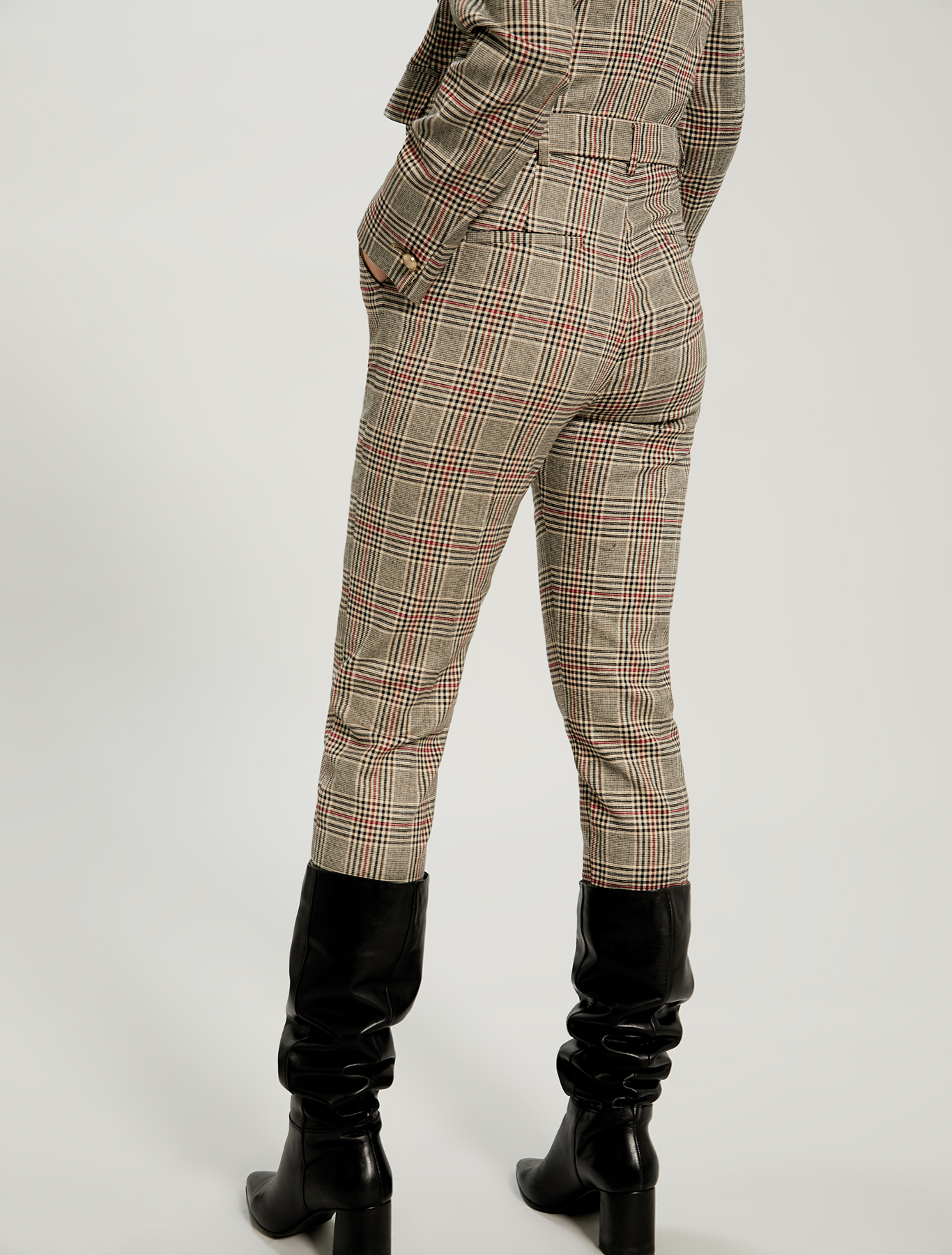 Prince of Wales check slim fit trousers - brown pattern - pennyblack