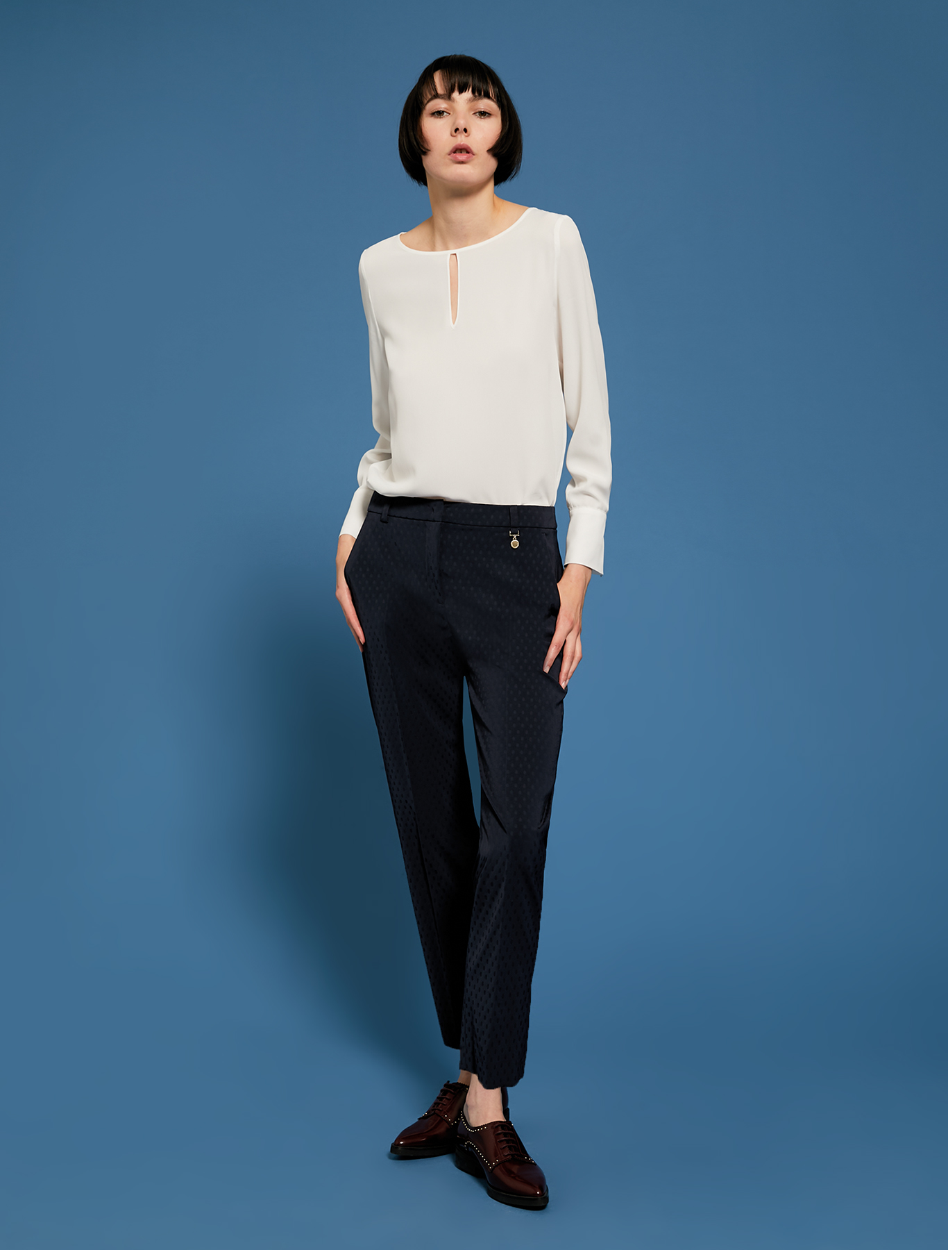Slim-fit trousers with polka dots - navy blue - pennyblack