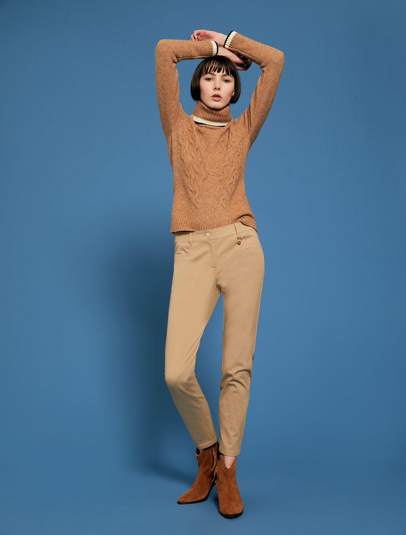 Skinny trousers in stretch cotton - camel - pennyblack