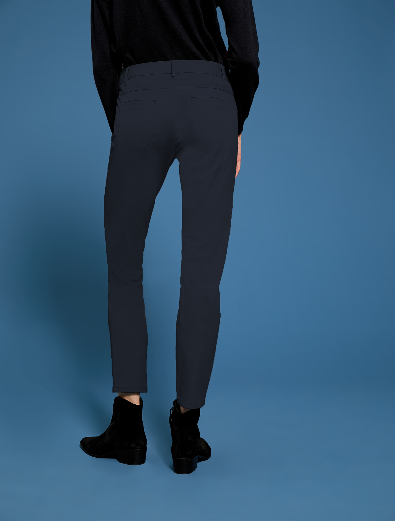 Skinny trousers in stretch cotton - midnight blue - pennyblack