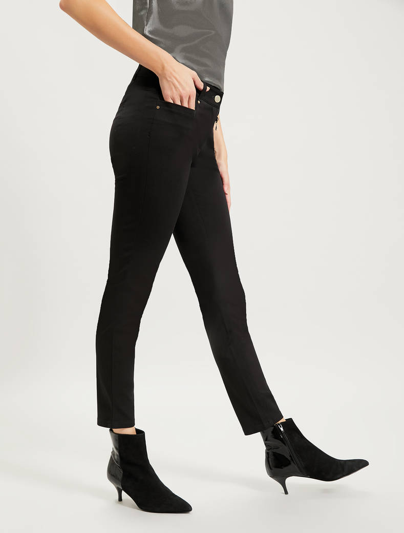 Skinny trousers in stretch cotton - black - pennyblack