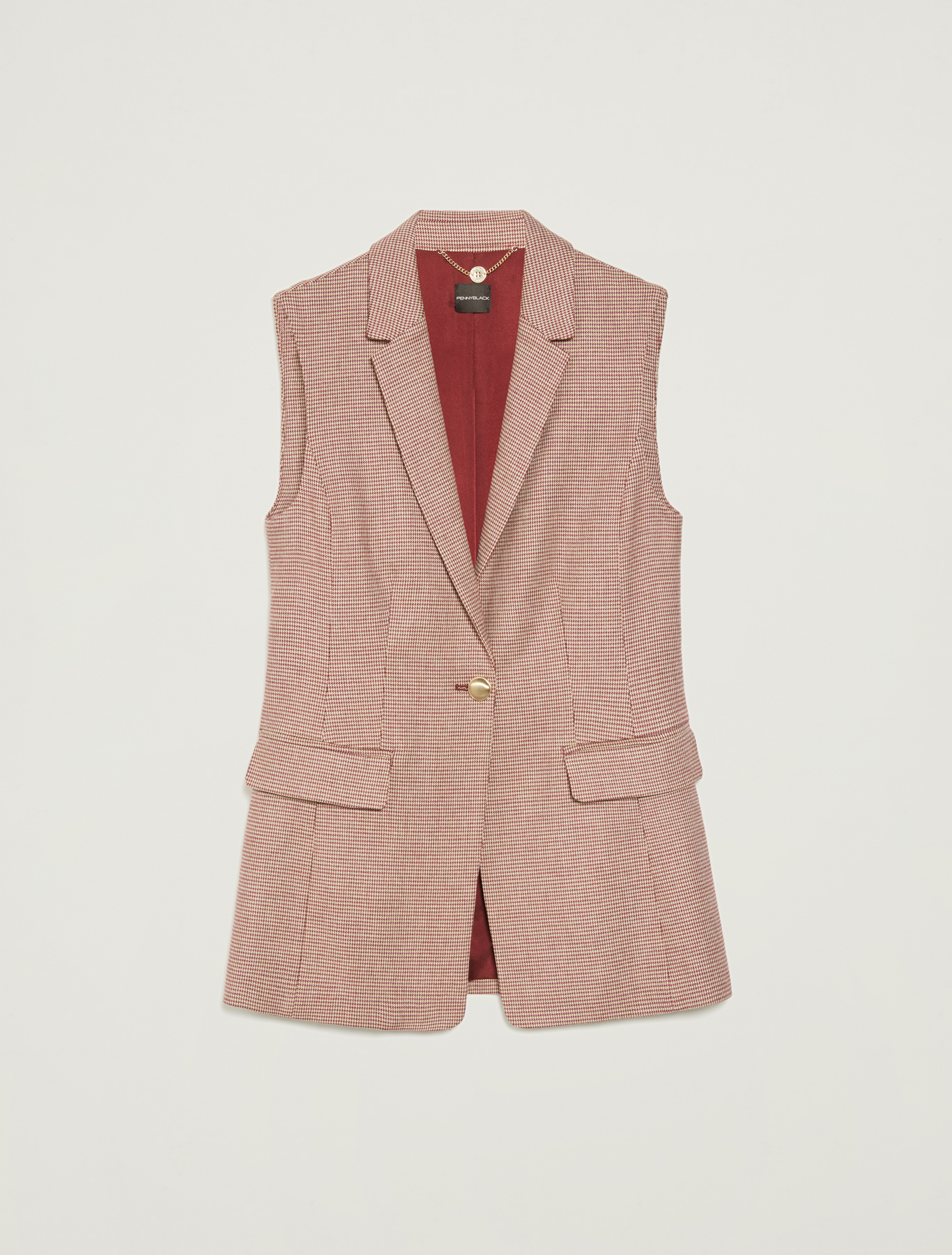 Houndstooth gilet blazer - red pattern - pennyblack