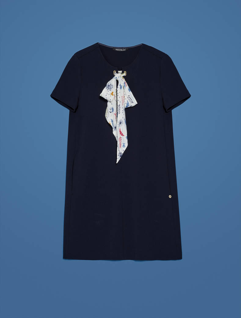 Shift dress with floral ribbon - navy blue - pennyblack