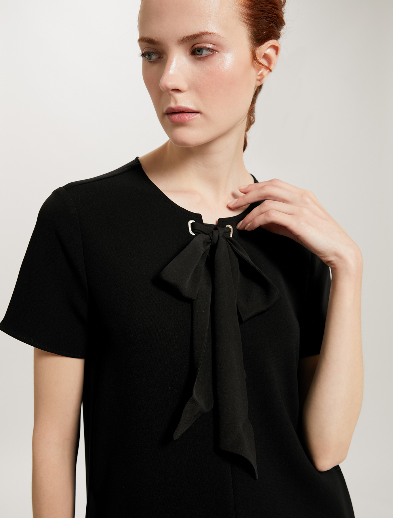 Shift dress with bow - black - pennyblack
