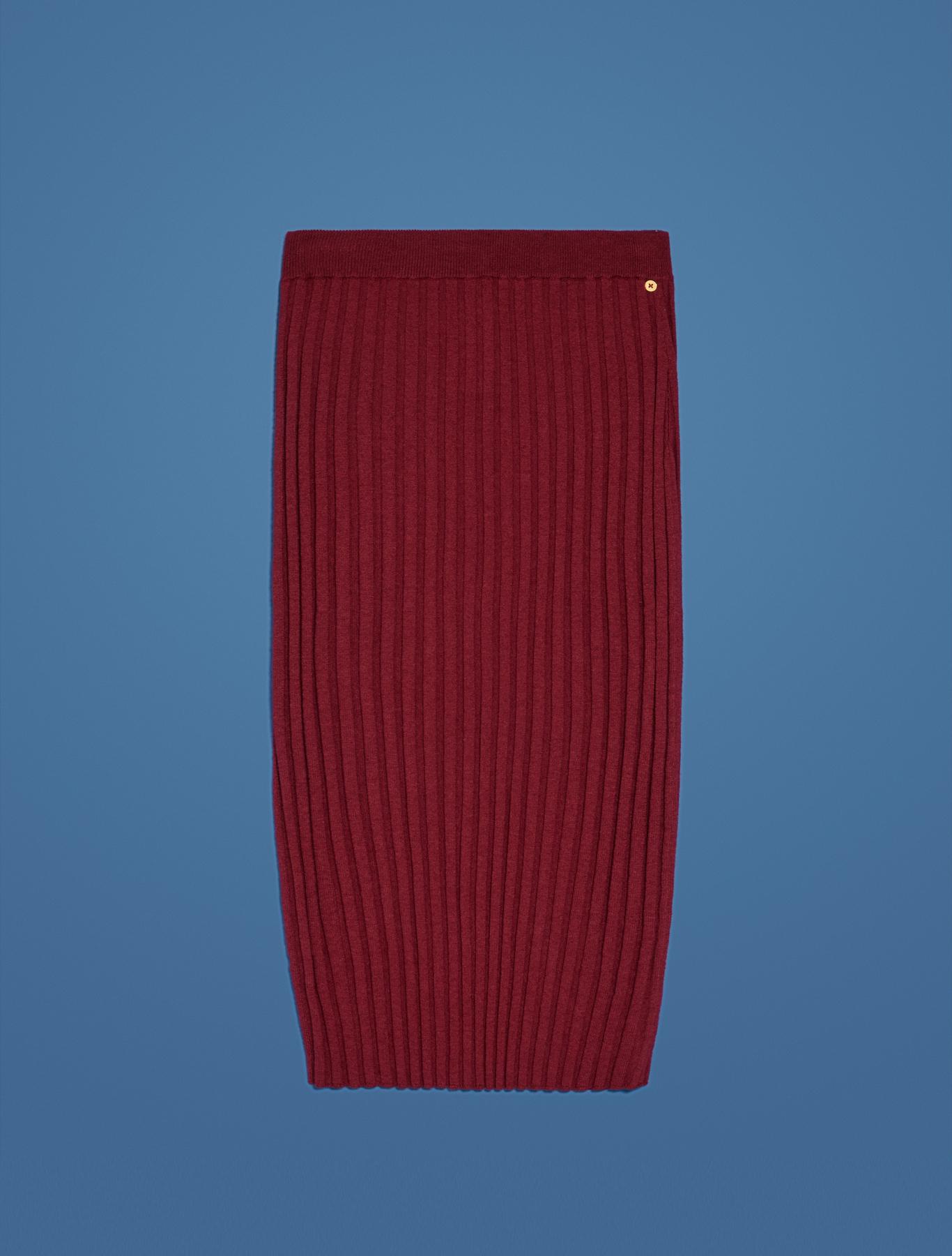 Knit pencil skirt - burgundy - pennyblack