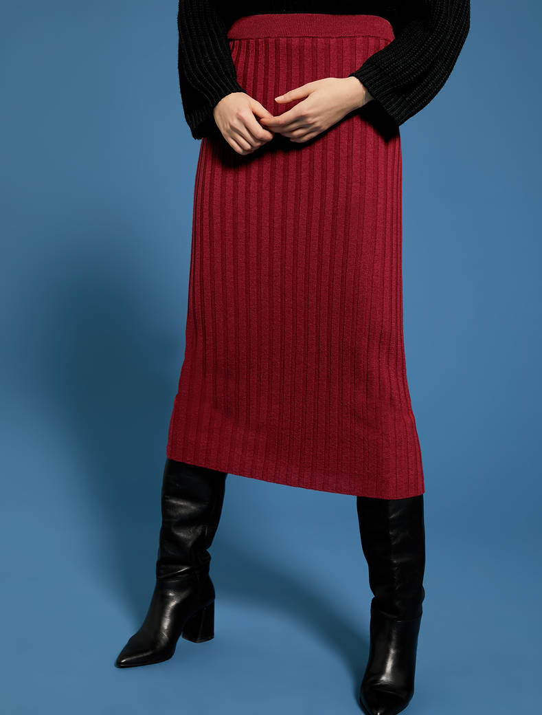 Knit pencil skirt - burgundy - pennyblack