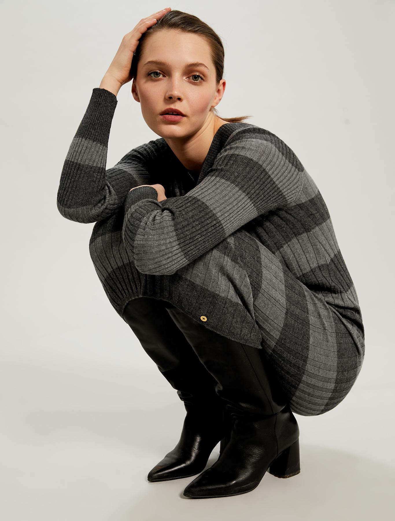 Knit sheath dress - light grey pattern - pennyblack