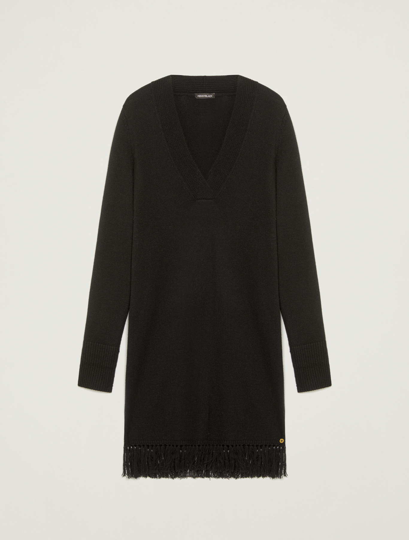 Fringed knit dress - black - pennyblack
